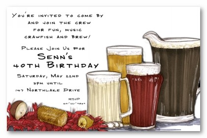crawfish and beer personalized party invitations by address to impress