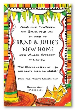 mexican fiesta theme personalized party invitationsaddress to, invitation samples