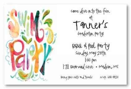 swim party personalized party invitationsaddress to impress, invitation samples