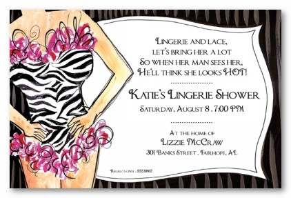 Zebra Lingerie Personalized Party Invitations by Address to Impress – Lingerie Party Invite