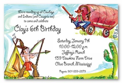 Cowboys and Indians Personalized Party Invitations by Address to – Cowboy and Indian Party Invitations