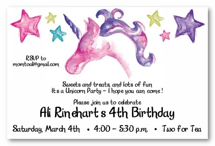 Unicorn And Stars Personalized Party Invitations
