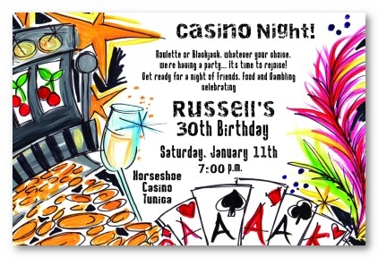 Casino Theme Personalized Party Invitations by Address to Impress