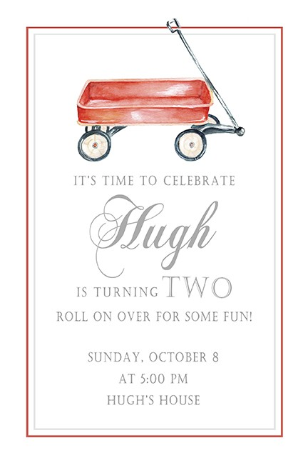Red Wagon Personalized Party Invitations