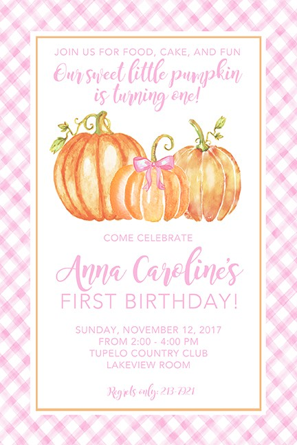Baby Girl Pumpkins Personalized Party Invitations