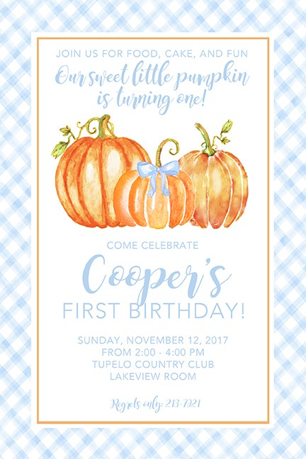 Baby Boy Pumpkins Personalized Party Invitations