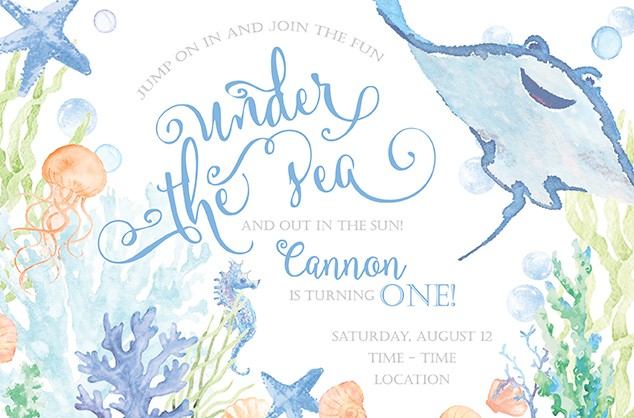 Boy Under the Sea Personalized Party Invitations