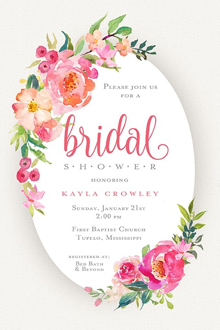 Pink Floral Bridal Personalized Party Invitations