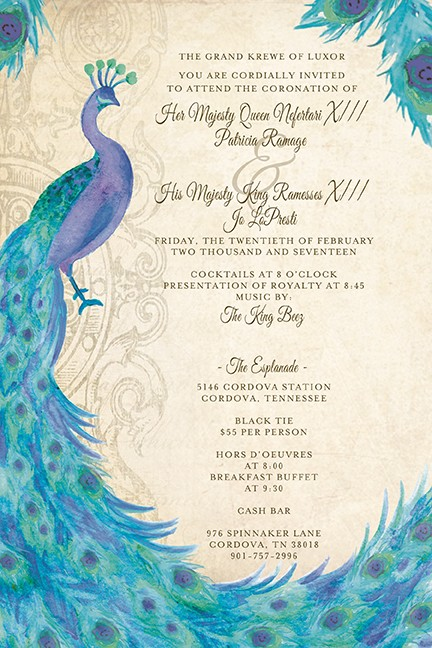Peacock Bridal Personalized Party Invitations