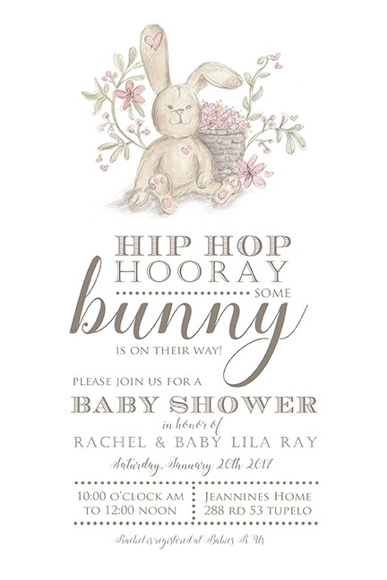Pink Baby Girl Bunny Personalized Party Invitations