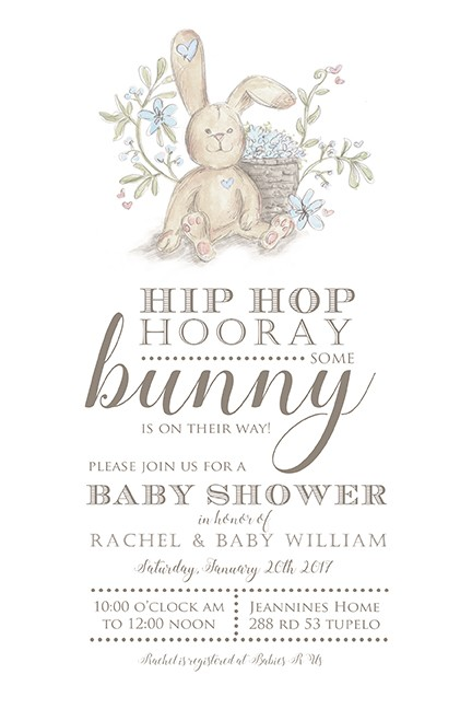 Blue Baby Boy Bunny Personalized Party Invitations