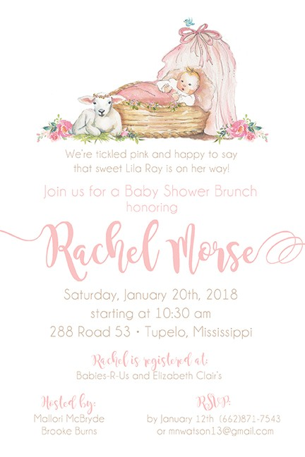 Pink Baby Girl Bassinet Personalized Party Invitations
