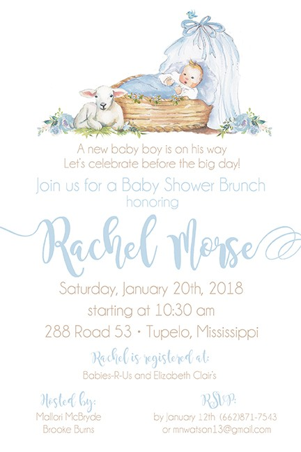 Blue Baby Boy Bassinet Personalized Party Invitations