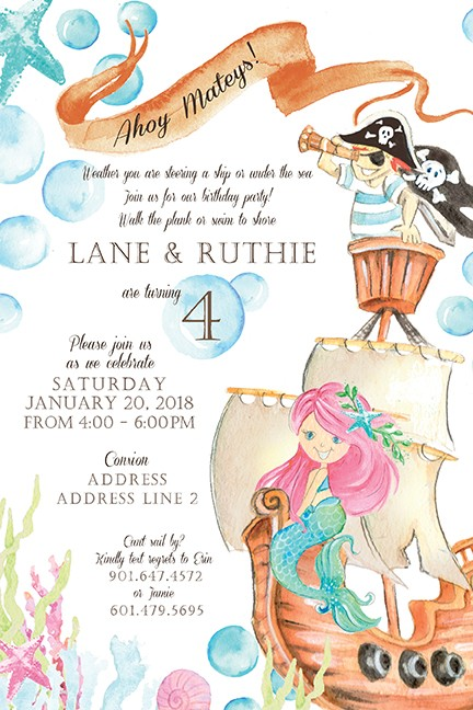 Pirate Ship and Mermaid Personalized Party Invitations