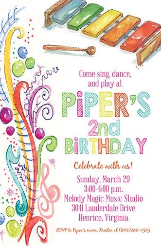 Rainbow Piano Personalized Party Invitations