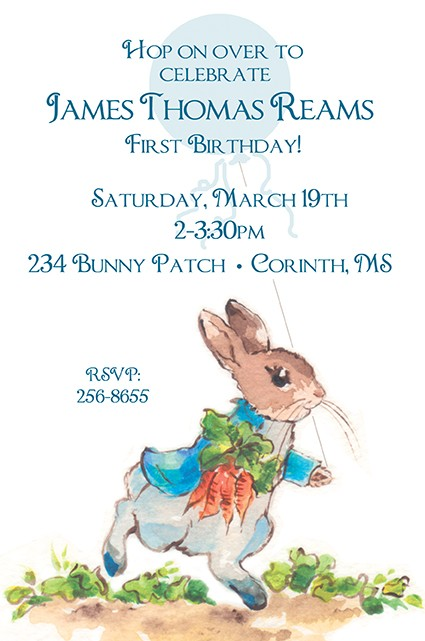 Peter Rabbit Personalized Party Invitations