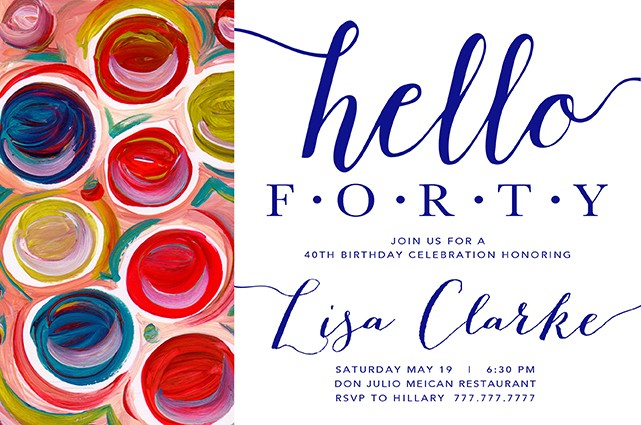 Multi Color Circles personalized Party Invitations