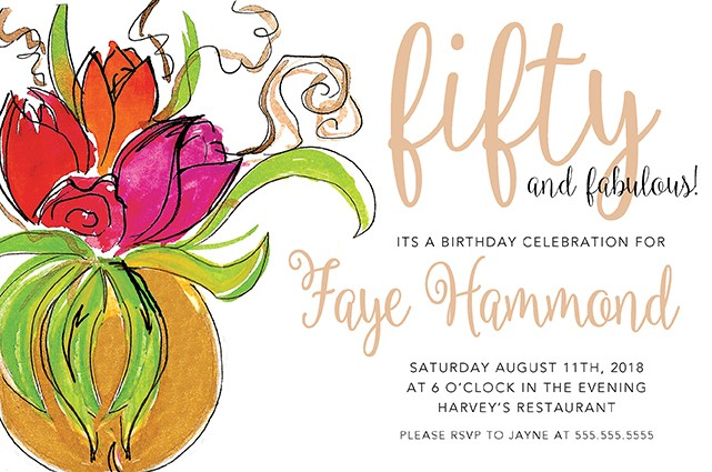 Floral Arrangement Personalized Party Invitations