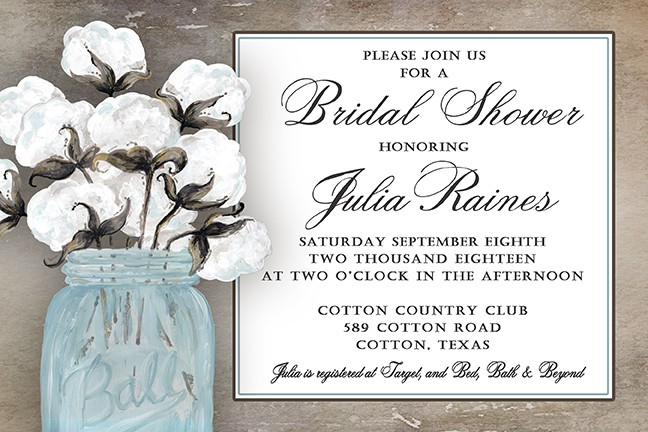 Blue Mason Jar Cotton Personalized Party Invitations