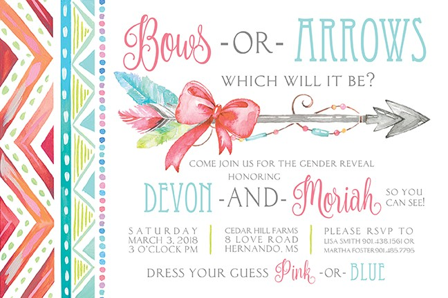 bows or arrows personalized party invitations by address to impress