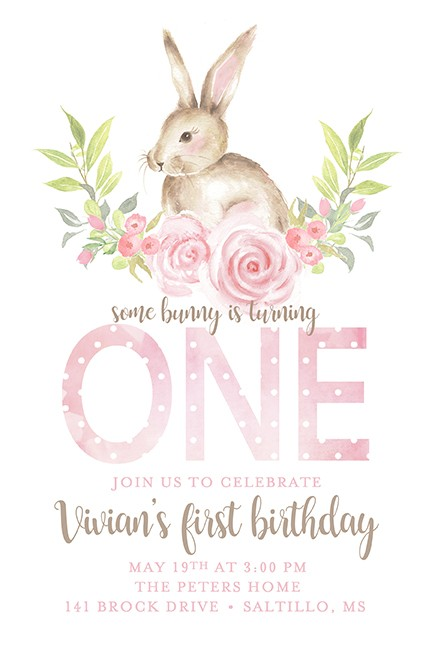 Some Bunny is 1 Girl Personalized Party Invitations