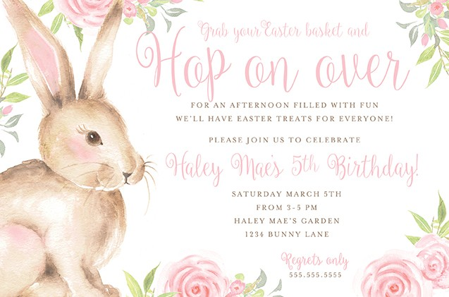 Easter Bunny Hop Personalized Party Invitations