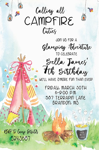 Glamping Camping Personalized Party Invitations