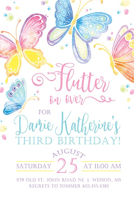 Butterfly Personalized Party Invitations