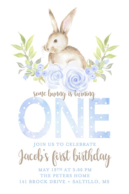 Some Bunny is 1 Boy Personalized Party Invitations