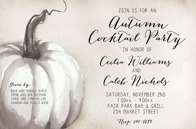White Pumpkin Personalized Party Invitations