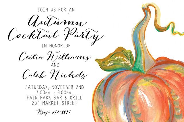 Orange Pumpkin Personalized Party Invitations