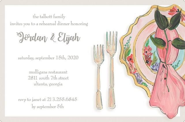 Posh Dinnerware Personalized Party Invitations