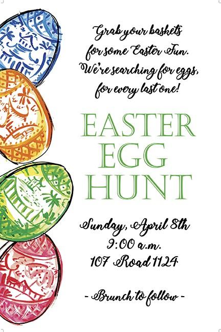 Toile Egg Border Personalized Party Invitations