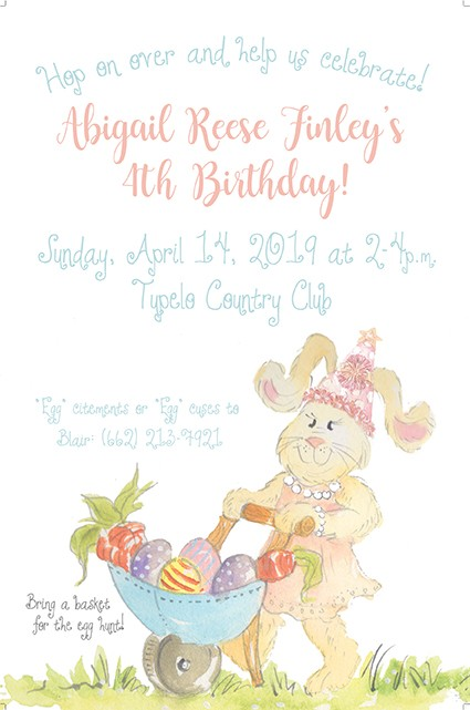 Pastel Birthday Bunny Personalized Party Invitations
