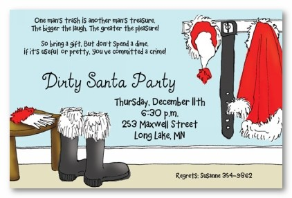 Secret or Dirty Santa Personalized Holiday Christmas Party Inivations