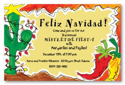 Feliz Navidad Holiday Personalized Christmas Party Invitations By