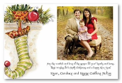 Buy personalized e greeting cards - Traditional Animal Print Stocking on Mantle Personalized Holiday Christmas Photo Cards
