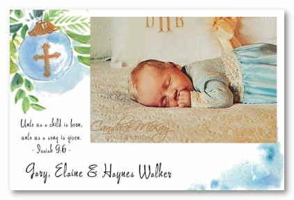 Baby Boy Cross Ornament Christmas Personalized Holiday Photo Cards