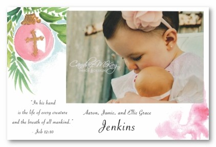 Baby Girl Cross Ornament Christmas Personalized Holiday Photo Cards