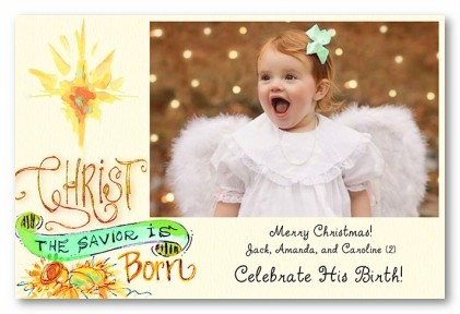Christ the Savior Is Born Personalized Holiday Photo Cards