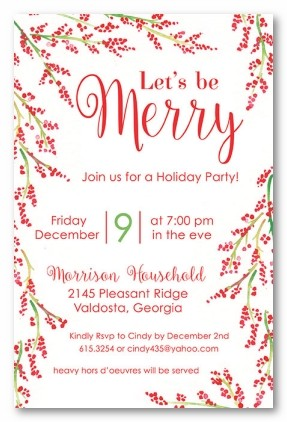 Holiday Berries Personalized Holiday Invitations