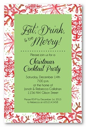 Festive Flakes Personalized Holiday Invitations