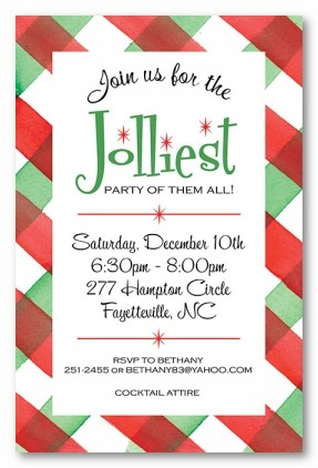 Plaid Party Border Personalized Holiday Invitations