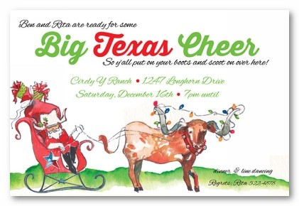 Merry Texas Y'all Personalized Holiday Invitations