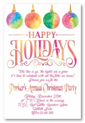 Ornaments Tie Dye Personalized Holiday Invitations