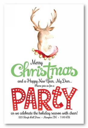 Deer Vertical Personalized Holiday Invitations