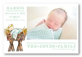 Manger Scene Donkey Personalized Holiday Photo Cards