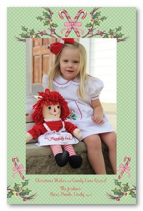 Candy Cane Wishes Personalized Holiday Photo Cards