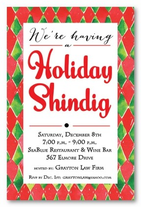 Holiday Harlequin Personalized Holiday Invitations
