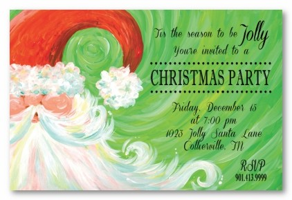 Swirly Santa Personalized Holiday Invitations
